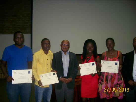Professor Asrat Tsegaye with Alice Campus prizewinners